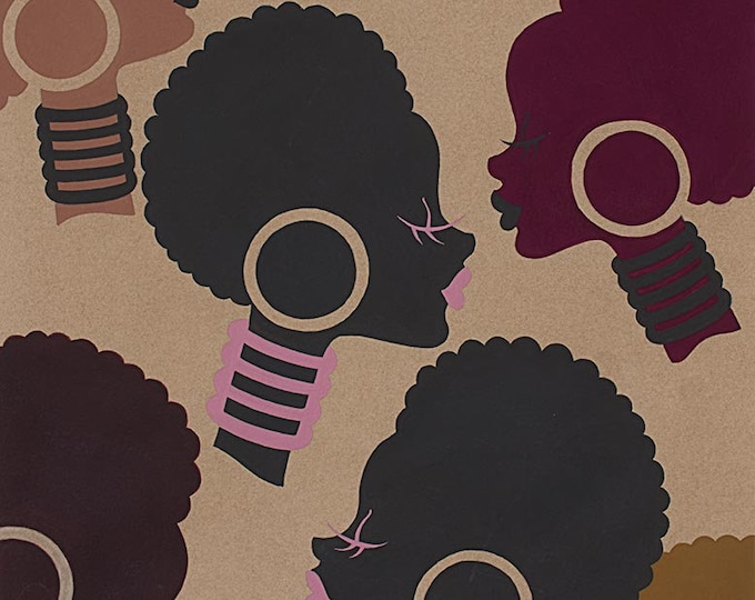 Alexander Henry Nyara African American Electra Retro Brown Purple 8296-E Fabric BTY