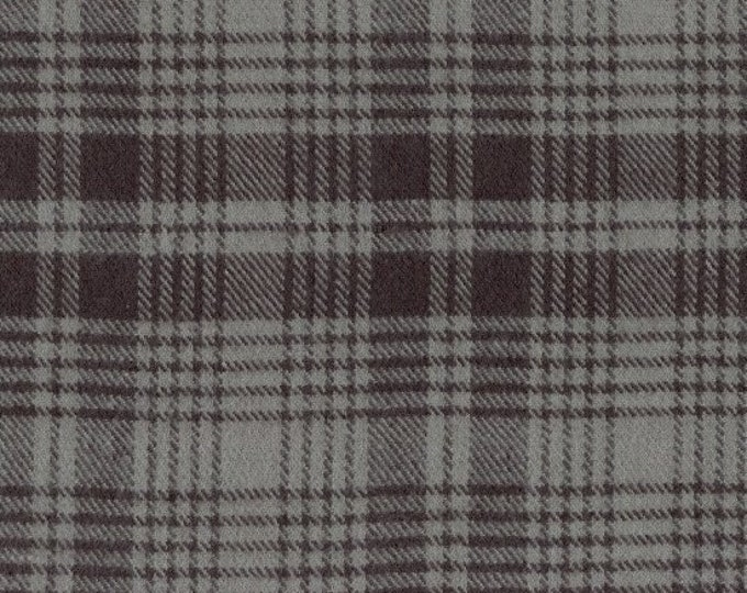 Marcus Primo Plaids Flannel Classic Tartans Grey Gary Black Plaid Fabric J345-0144 BTY