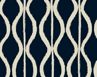 Windham Twilight Indigo Navy Blue White Wave Squiggle 100% Cotton Mud Cloth 41096-1 BTY