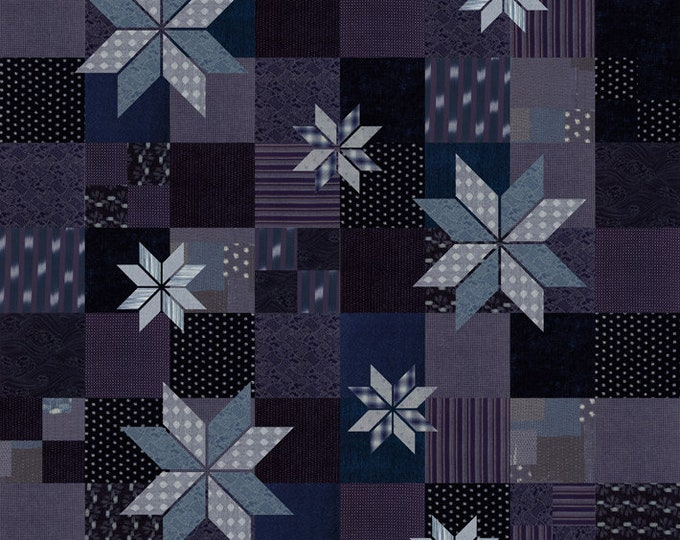 Moda Boro Cloth Indigo Denim Like Sachiko Fabric Complete Quilt KIT 64 x 72