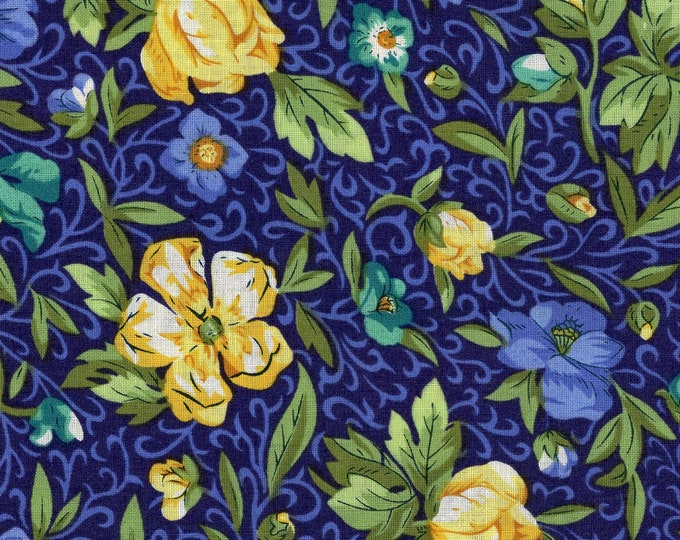 EE Schenck EESCRC1519-N Crafty Cottons Floral Blue and Yellow   BTY