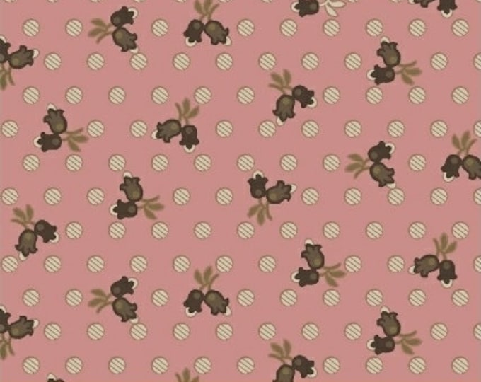 Windham Madeline Julie Hendrickson Pink Brown Cream Leafy Floral Polka Dot Civil War Fabric BTY 43453-2