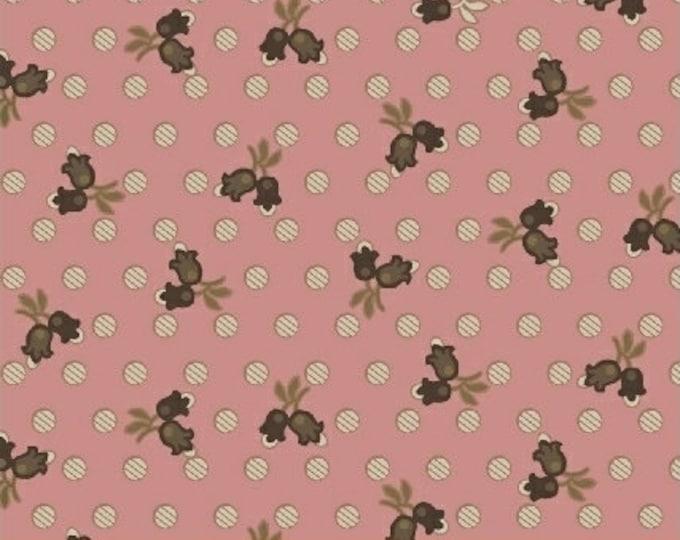 Windham Madeline Julie Hendrickson Pink Brown Cream Leafy Floral Polka Dot Civil War Fabric BTY 43453-2