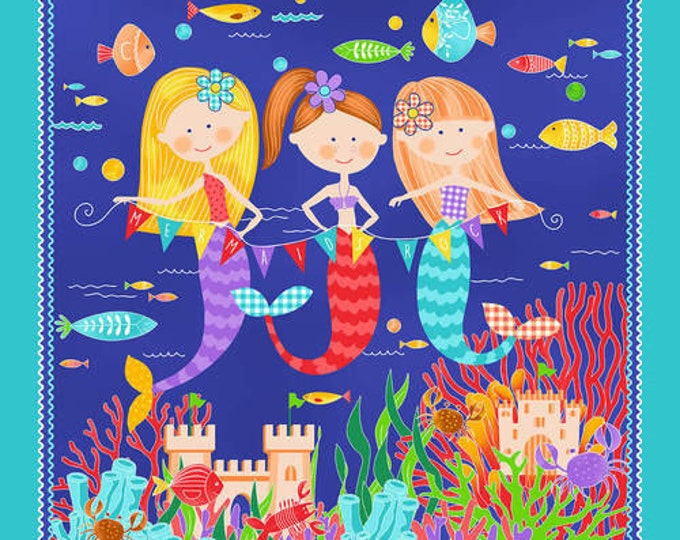 Studio E Fabrics Mermaid Mermaids Castle Ocean Beach Kids Seashell Fish Fabric BTP 24 x 42
