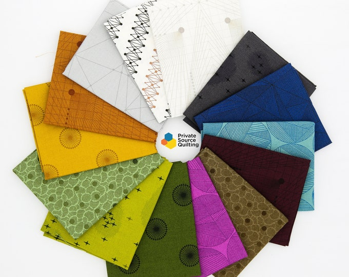 Andover Quantum by GG Giucy Giuce Geometric Line Blue Green Pink Brown Orange 14 Fat Quarter Bundle A Fabric