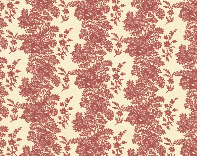 RJR Chocolate & Bubble Gum Cream Pink Floral Stripe Fabric 2716-002 BTY