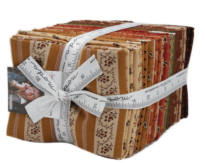 Moda 40 Fat Quarter Spice It Up Jo Morton Civil War Reproduction Tan Red Fabric Bundle