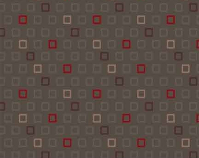 Marcus Nancy Rink Remember Red Brown Red Beige Grey Gray Background Fabric 8094-0140 BTY