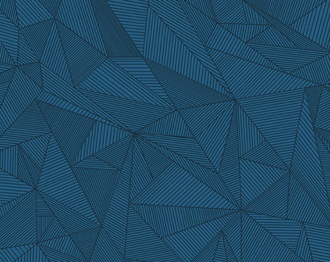 Andover Quantum Giucy Giuce Terra Celestial Teal Blue Geometric Line Fabric BTY 8962-B