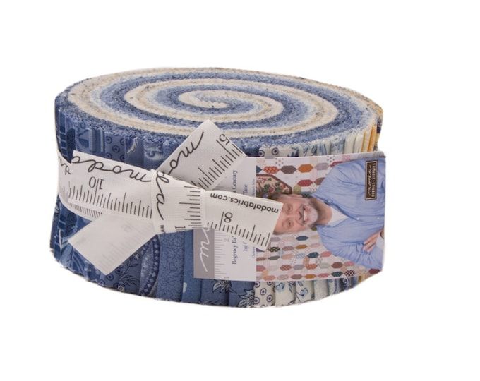 Moda Regency Ballycastle Chintz Christopher Wilson Tate Blue Yellow White Jelly Roll 2.5 Fabric Strips