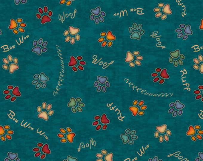 Must Love Dogs Dog Dan Morris QT Fabrics Teal Rust Dog Paw Prints Fabric 26939-Q