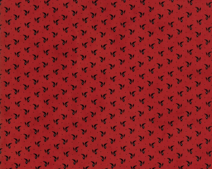 Moda Primitive Gatherings Needle Gatherings Red Russet Black Floral Branch Civil War Patriotic Fabric 1237-14 BTY