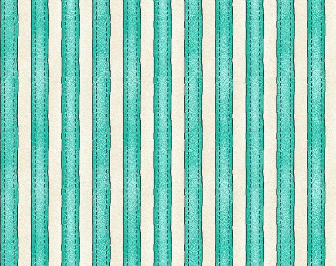Roam Sweet Home - Awning Stripe  MAYWOOD STUDIO- Aqua White Blue Aqua lines Fabric BTY MAS8228-Q