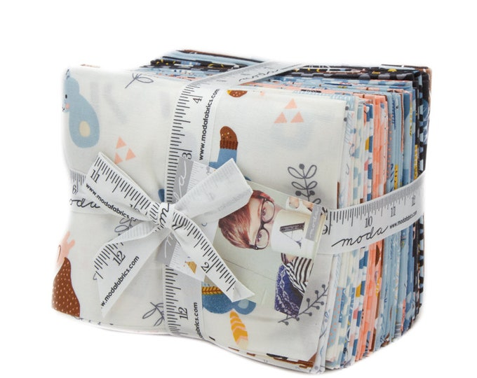 Moda 24 Fat Quarters Wild and Free Abi Hall Teepee Bear Deer Rabbit Animal Kids Baby Fabric