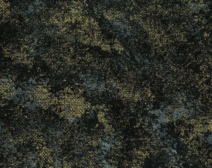 RJR Shiny Objects Precious Metals Flaurie and Finch Black Onyx Rustic Shimmer Gold Metallic Fabric 2891-017 BTY