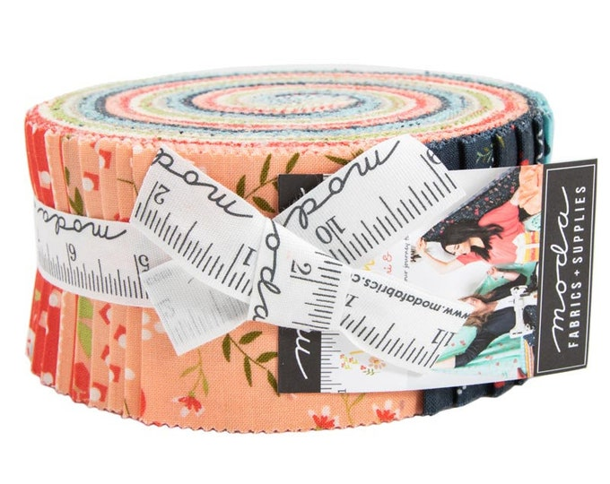 Moda Sherri and Chelsi Walkabout Pink Coral Gray Blue Floral Jelly Roll 2.5 Fabric Strips