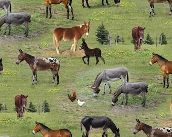 Elizabeth Studio Farm Animals Mule Donkey Chicken Grass Fabric 506 Green BTY