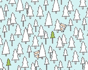 Ink and Arrow Fabrics Camp S'mores Smores Blue Trees Camping Trailer Fabric BTY