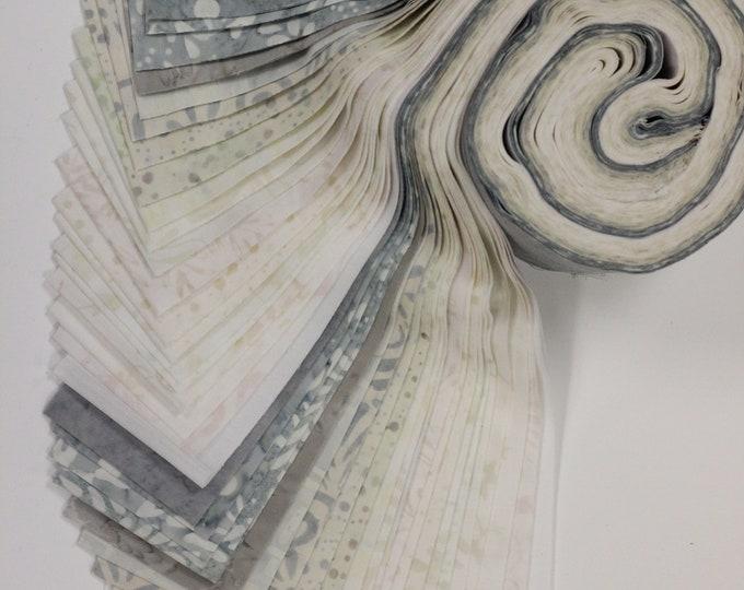 PSQ Exclusive Balilicious BATIK Cream White Gray Grey Jelly Roll 40 2.5 Inch Fabric Strips