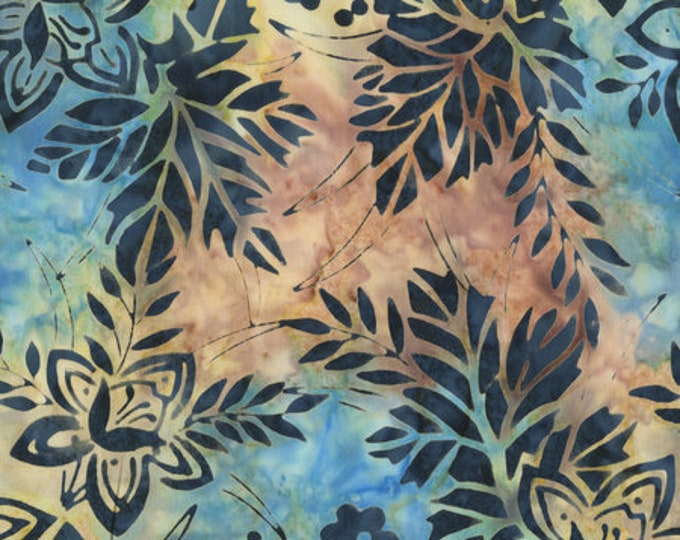 Anthology Art Inspired Batik Jackson Pollock Number 1 Marble Tan Yellow Blue Leaf Floral Fabric 267Q-3 BTY