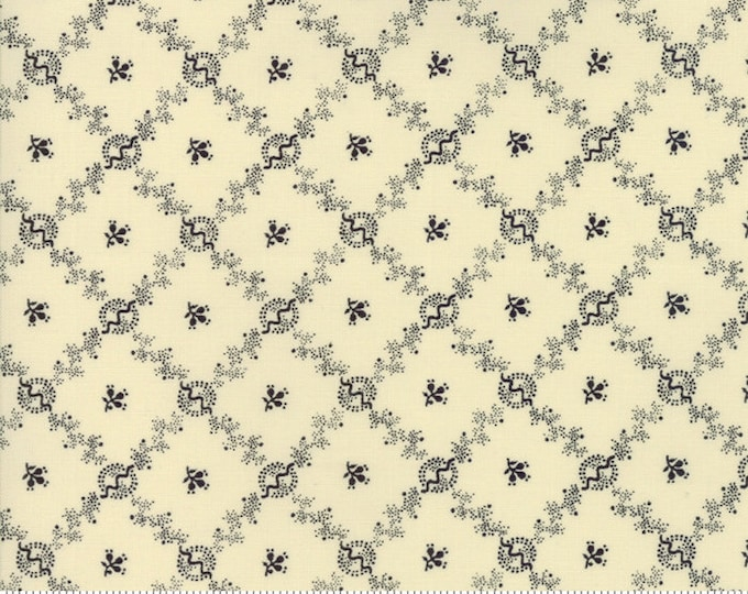 Moda Evelyn's Homestead Betsy Chutchian Beige Cream Navy Floral Cross Civil War Fabric BTY 31566-23