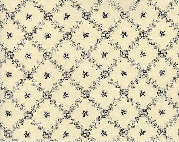 Moda Evelyn's Homestead Betsy Chutchian Beige Cream Navy Floral Cross Civil War Fabric BTY 31566-23