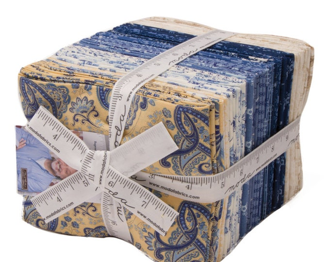 Moda Regency Ballycastle Chintz Christopher Tate 35 Fat Quarter Yellow Blue White Floral Fabric FQ Bundle