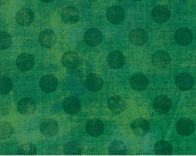 Moda Basic New KELLY GREEN Hits the Spot Green Forest Polka Dot Grunge 30149-62 Fabric BTY