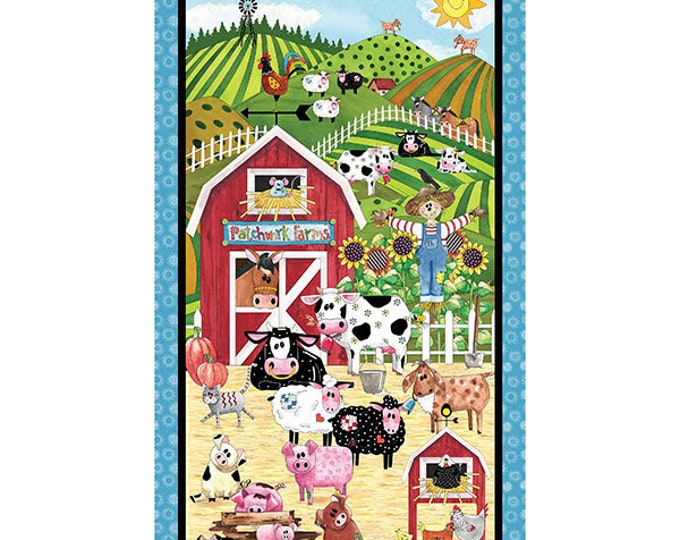 Quilting Treasures Patchwork Farms Farm Animal Cow Horse Pig Kids Panel Fabric BTY