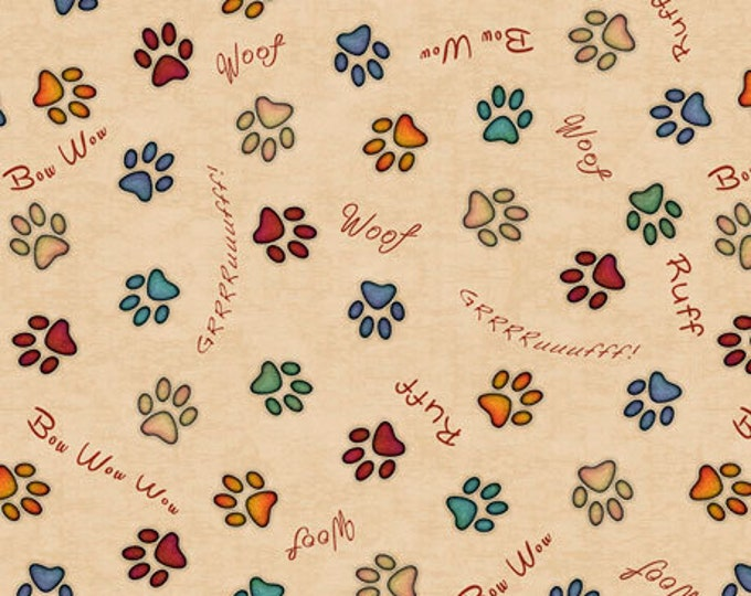 Quilting Treasures Must Love Dogs Dog Dan Morris Black Rust Dog Paw Prints Fabric 26939-E