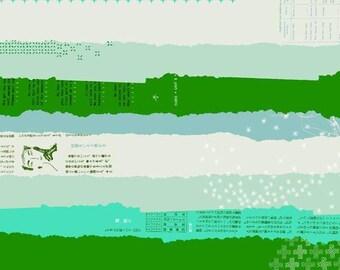 BeSpoke Double Gauze Ephemera Green Blue Lightweight Cotton and Steel Fabric BTY