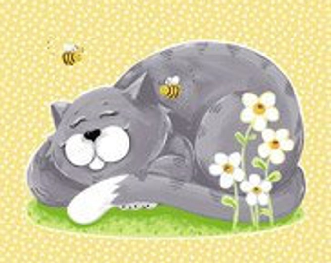 "Purrl the Cat, Play mat 100% cotton 36"" x 44"" By Susybee"