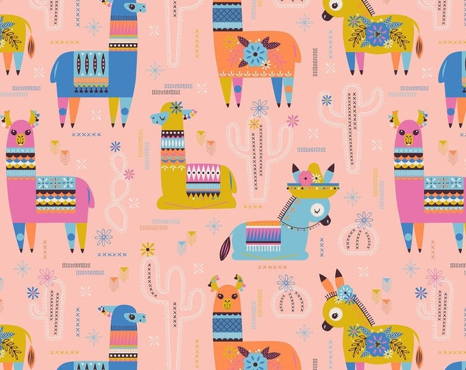 Blend Fiesta Stacy Peterson Amigos Pinata Donkey Llama Pink Blue Party Fabric BTY