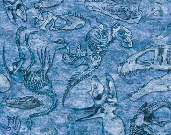 Quilting Treasures Lost World Realistic Dinosaur Dan Morris Fossils Fabric Blue 26803-B BTY