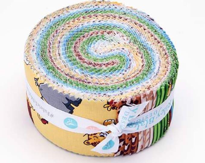 "Riley Blake Tarzanimals™ 2 1/2"" Rolie Polie RP-8240-40 Strip Roll pre cuts 2.5"" x 44"" Quilt Strips 40 Strips - 100% Cotton"
