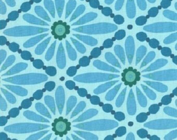 Free Spirit  Olive Rose Fabric Valori Wells -Olive Rose Blue diamond Cotton 07600-85   BTY