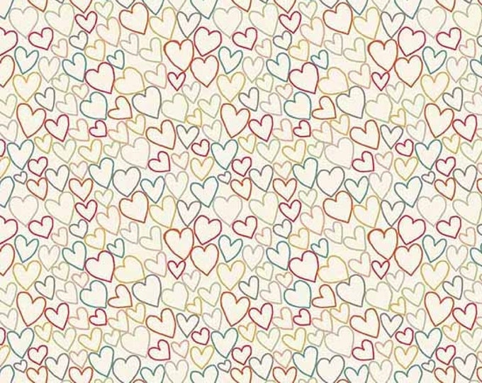 Andover Elli Ellie the Elephant White Heart Hearts Pink Coral Teal Fabric 2071-T BTY