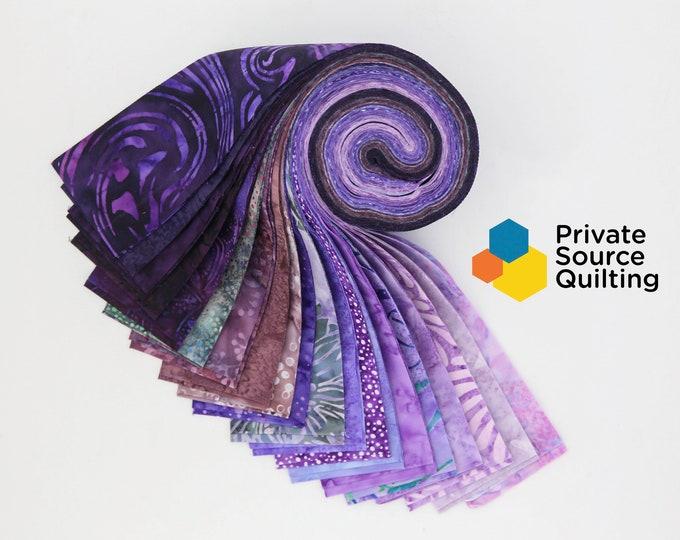 PSQ Exclusive Balilicious Batik PASSIONFRUIT Purple Violet Lilac Mauve Beige Jelly Roll 40 2.5 Inch Fabric Strips
