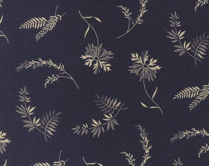 Moda Jan Patek Fern Hill Navy Blue with Tan Branch Leaf Floral Civil War Fabric 2182-16 BTY