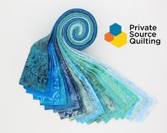 PSQ Exclusive Balilicious Batik TAHITI Aqua Turquoise Teal Blue Green Jelly Roll 40 2.5 Inch Fabric Strips