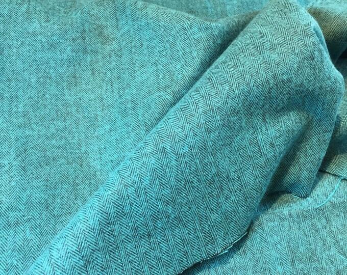 Kaufman Shetland Herringbone Flannel Ocean Teal Blue Fabric 13936-59  BTY