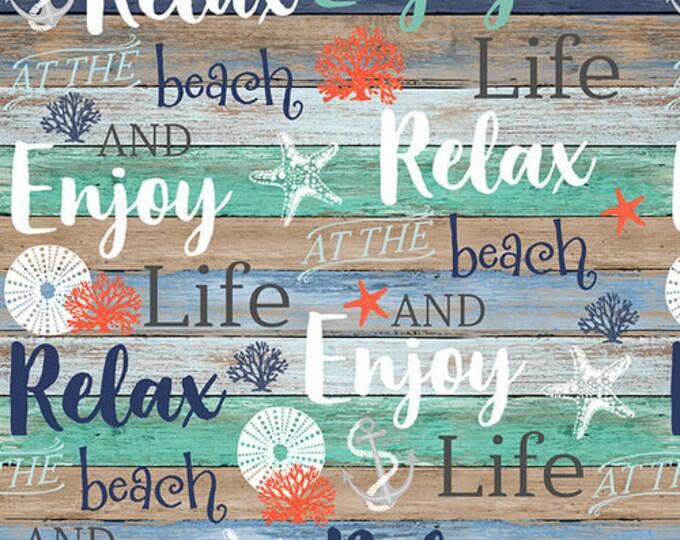 Studio E Fabrics Coastal Dreams Enjoy Relax Beach Seashell Urchin Writing Beach house Fabric BTY 4856-17