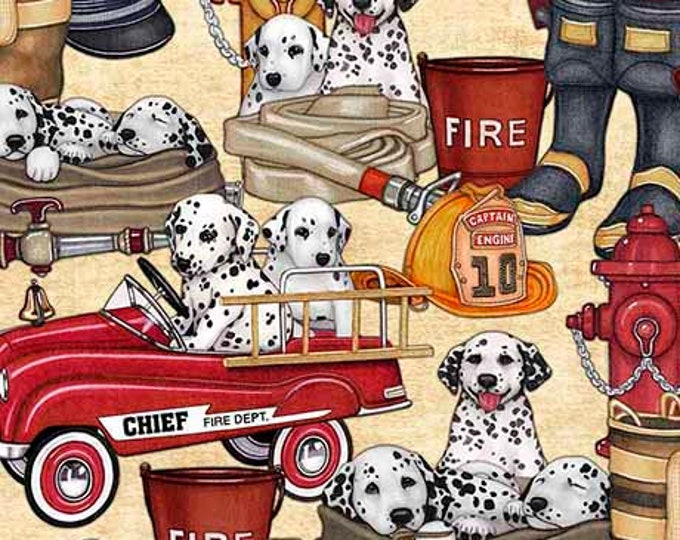 5 Alarm Fire Fighter Dalmatian Truck Gear Ecru Cream Fabric 26292-E BTY