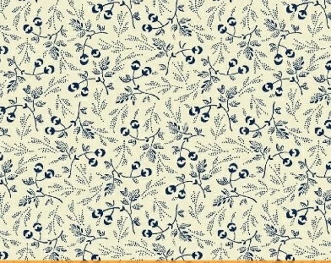 Windham Evelyn White Navy Blue Floral Leaf Civil War Fabric 41984-1 BTY