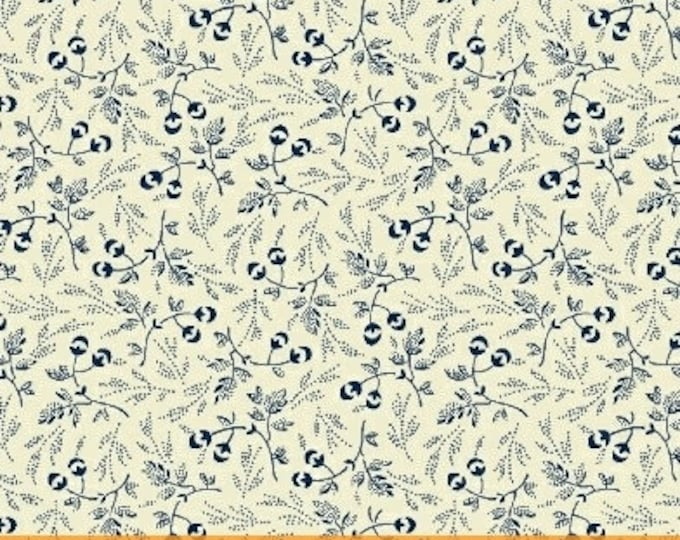 Windham Evelyn White Navy Blue Floral Leaf Civil War Fabric 41984-1 BTHY