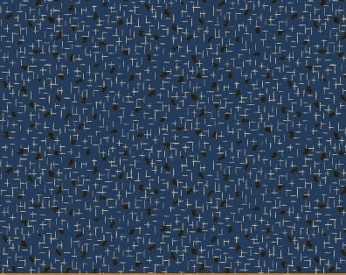 Windham Storytellers Nancy Gere Blue with Black Accents Civil War Reproduction  40803-5 Fabric BTHY