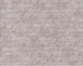 Moda POETRY Grey Gray Stone Cursive Writing Tonal 3 Sister's Shabby Fabric 3728-32 BTY