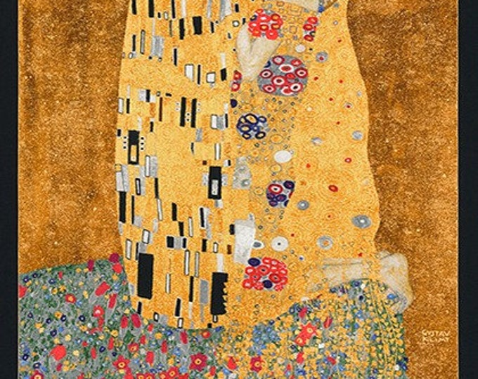 Robert Kaufman Gustav Klimt The Kiss Cotton Gilded Fabric Panel  (24 x 42)