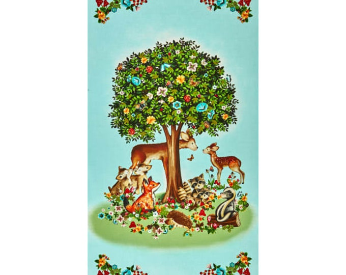 "Peace Forest banner free panel 100% cotton 24"" x 44"" by Helz Cuppleditch"