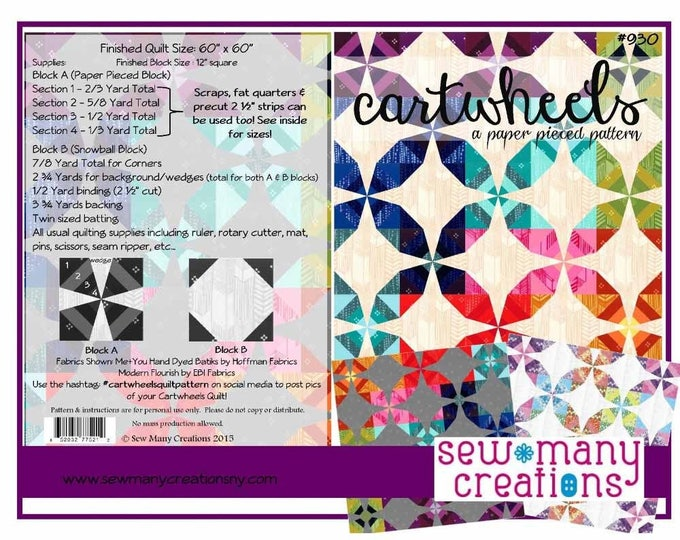 CARTWHEELS Sew Many Creations Quilt Modern Pattern 60 x 60 Inches